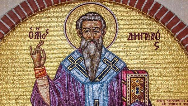 Ayios Dimitrianos, Saint, Iconography, Mosaic, Lintel