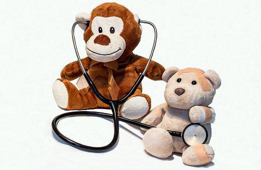 Teddy Bears, Ill, Stethoscope, Injured, Arztbesuch