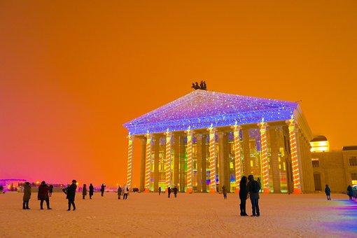 Astana, Kazakhstan, Opera And Ballet Theatre, In Winter