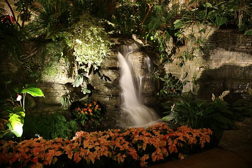 Indoor Waterfall, Waterfall With Lights, Interior