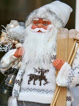 Santa Claus, Bart, Wooden Skis, Racing Animal, Knitwear