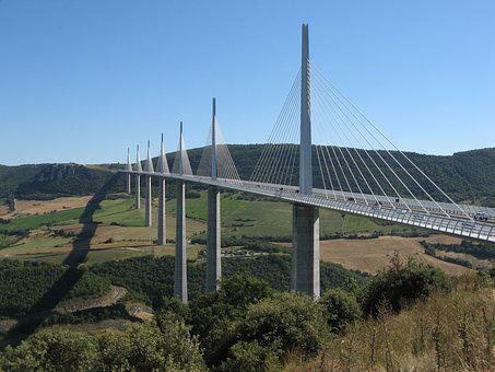 Viaduct, Millau, France, Bridge, Cables, Tarn River