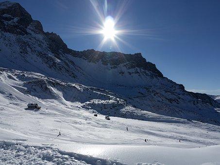 Sun, Snow, Mountain, Backlight, Landscape