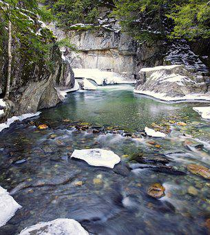 Warren Falls, Pool, Water, Natural, Winter, Nature