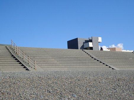 Japan, Numazu, Beach, Stairs, Building, Blue, Sky