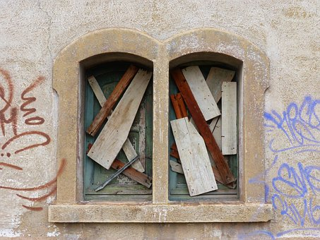 Window, Boarded Up, Old, Peeling Paint, Abandoned