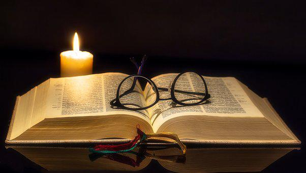 Book, Bible, Open, Glasses, Reading Glasses, Sehhilfe