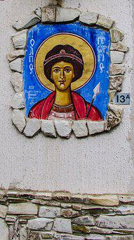 Painting, Wall, House, Wall Art, Ayios Georgios, Saint