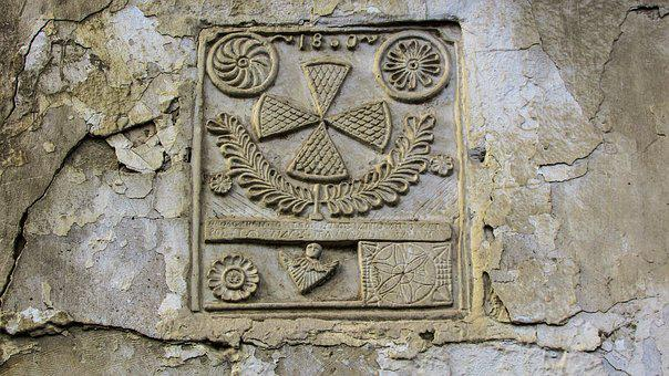 Lintel, Sign, Symbol, Wall, Crack, Old, Carving
