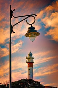 Lighthouse, Sky, Light, Old Streetlight, Clouds