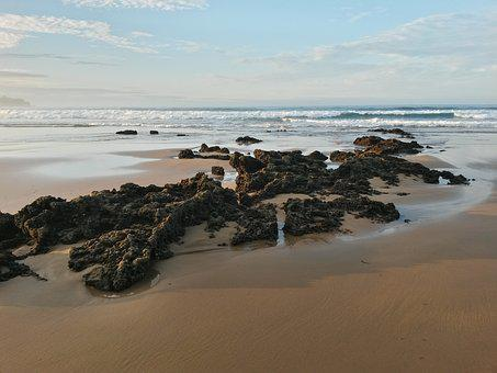 Sea, Beach, Stone, Water, Wave, Sky, Spain, La Isla