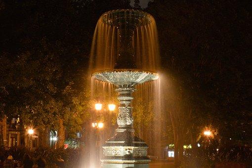 St-louis, Square, Montréal, Fountain, Night, Lights