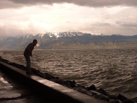 Sea, Lake, Scream, Storm, Bad Weather, Shout, Man