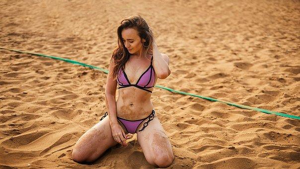 Girl, On The Beach, Bikini, Blonde, Sand, Sun, Morning