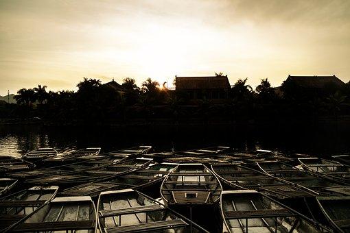 Boats, Sunset, Tamcoc, Shadow, Dark, Twilight, Enening