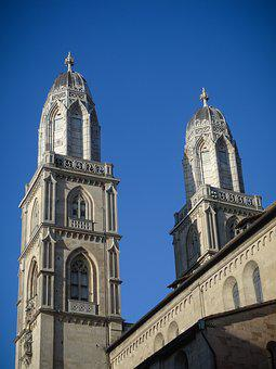 Grossmünster, Tower, Zurich, Church, Church Tower