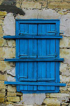 Window, Wooden, Blue, Aged, Weathered, Traditional