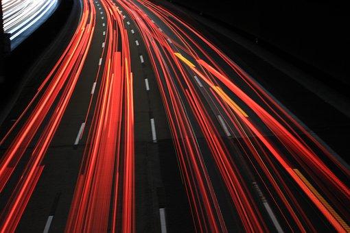 Traffic, Lights, Tracer, Taillights, Brake Lights, Red