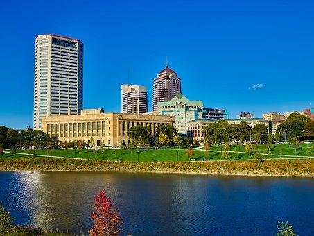 Columbus, Ohio, City, Urban, Skyline, Downtown, Sky