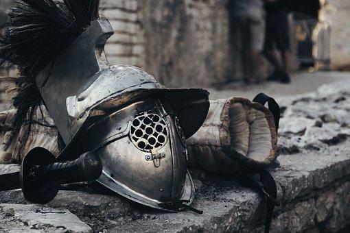 Gladiator, Warrior, Gear, Weapons, Arena, Roman