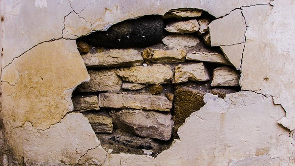 Wall, Damaged, Crack, Aged, Weathered, Distressed