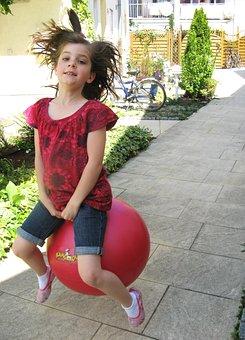 Girl, Dopsball, Hüpfball, Fun, Out, Dopsen