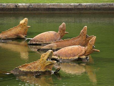 Versailles, Fountain, Garden, France, Turtles, Varan