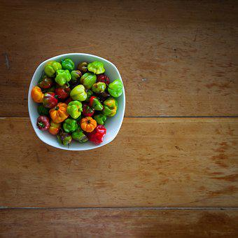 Habanero, Pepper, Wooden, Table, Mexican, Colorful