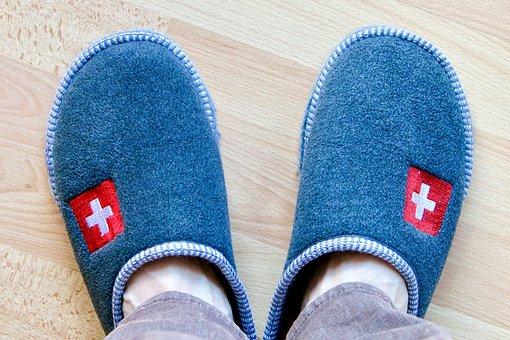 Hut Finch, Slippers, Felt, Swiss Cross