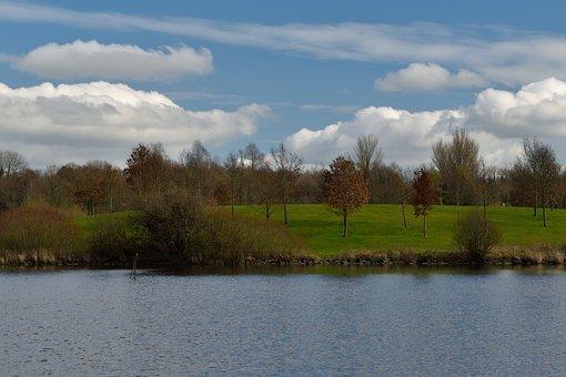 Park Craigavon, Lake, Beach, Shrubs, Sky