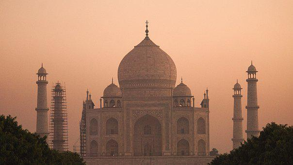 Sunset, Architecture, India, Taj, Mahal, Agra, Monument