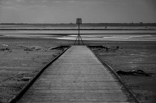 Black And White, Estuary, River, Water, Sea, Coast