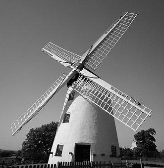 Windmill, Black And White, White, Black, Wind, Ecology