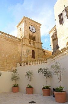 Gozo, Malta, Church, Clock, Architecture