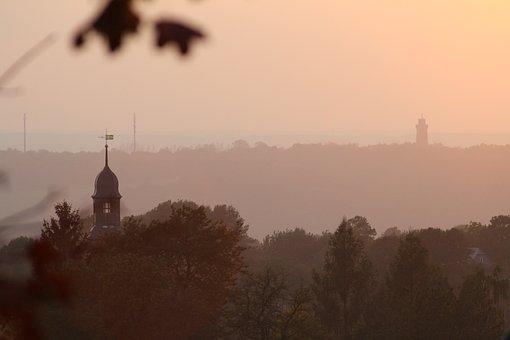 Sunset, Glauchau, Lobsdorf, Church, Steeple, Tower