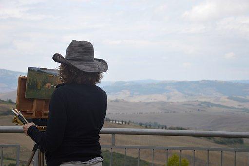 Tuscany, Montichiello, Pienza, Italy, Painter