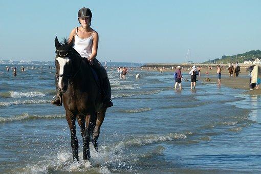 Horse, Ride, Beach, Atlantic, Woman