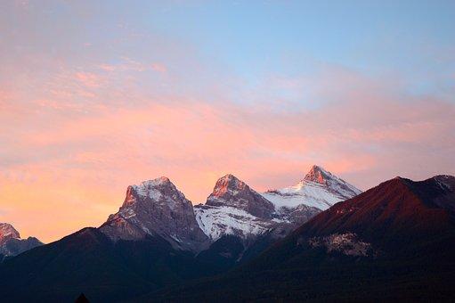 Mountains, Canada, Dusk, Rocky, Scenic, Alberta, Sky