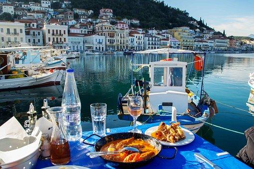 Seafood, Greece, Boat, Sun, Landscape, Seascape, Sea