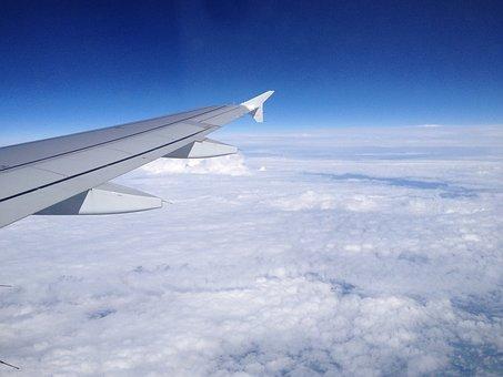 Clouds, Sky, Plane, Flight, Wing, Window View