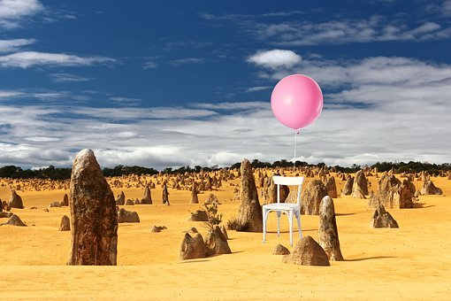 Chair, Balloon, Float, Floating, Stormy, Dry, Barren