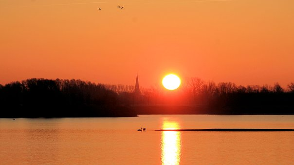 Sunrise, Landscape, Sun, Silhuette, Skies, Morning Sun