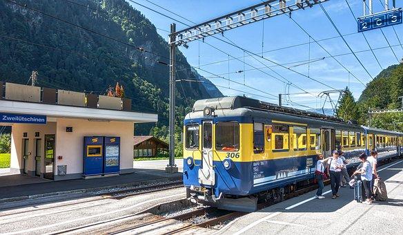 Switzerland, Zweilutchinen, Railway, Station