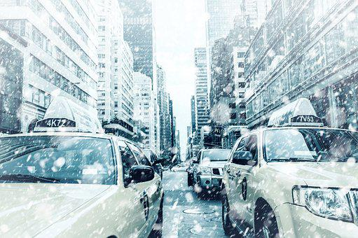 New York, Taxi, Road, Yellow Cab, Building, Traffic