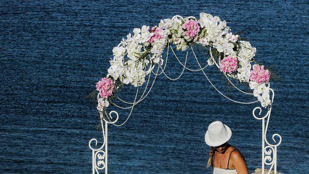 Arch, Garland, Festoon, Wedding, Decoration, Girl, Hat