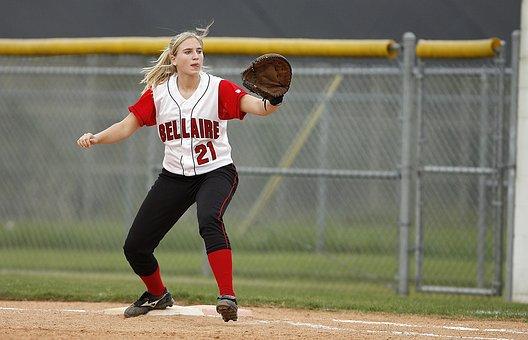 Softball, First Baseman, Girl, Player, Athlete, Base