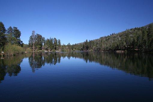 Lake, Jenks Lake, Blue Sky, Reflections On The Water