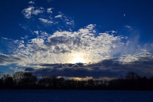 Blue, Sunbeam, Dazzle, Clouds, Sky, Morning, Sun