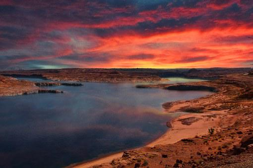 Lake Powell, Arizona, Sunrise, Glowing, Sky, Clouds