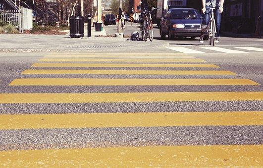 Crosswalk, Pedestrian Crossing, Stripes, Yellow, Street